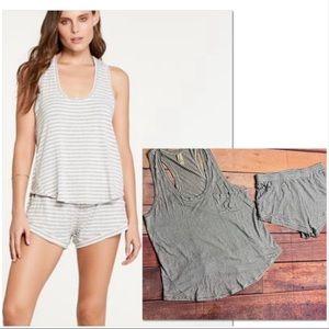 Maison Du Soir Pajama Set Heather Grey Striped